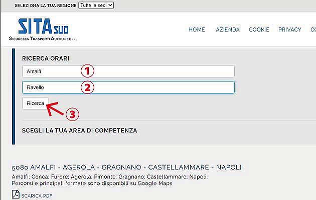 バスでアマルフィからラヴェッロへアクセス