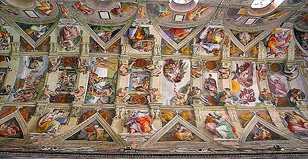 ヴァティカン美術館のシスティーナ礼拝堂の天井画