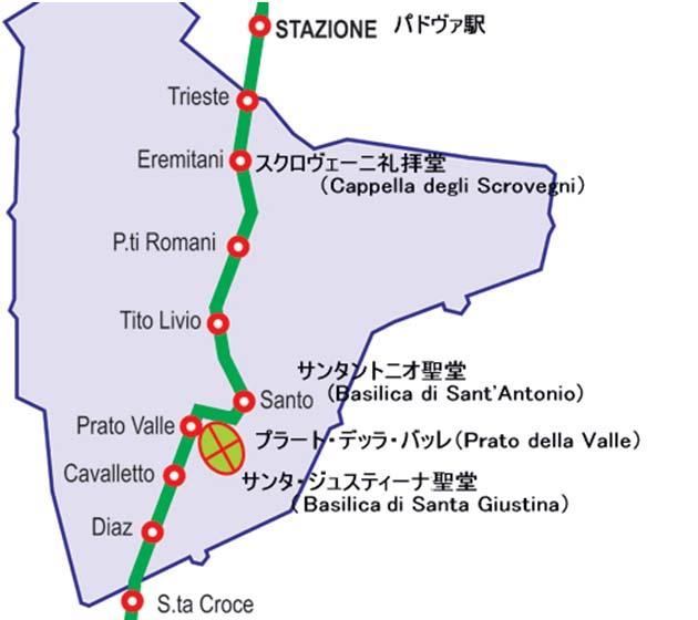 パドヴァのトラムマップ