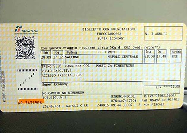 イタリアの高速列車FrecciaRossaのチケット