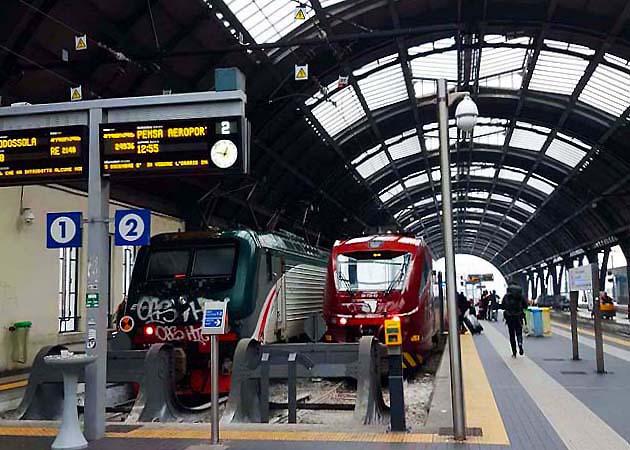 ミラノ中央駅の列車マルペンサ・エクスプレス乗り場