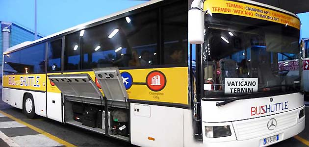 ローマの空港発シャトルバス