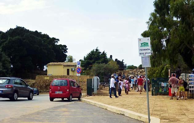 アグリジェント神殿の谷のバス乗り場