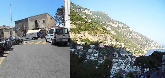 ポジターノのバス停留所Chiesa Nuova