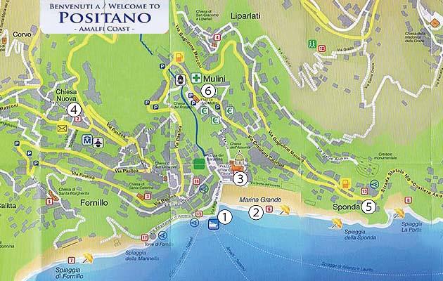 ポジターノのバス乗り場、停留所MAP