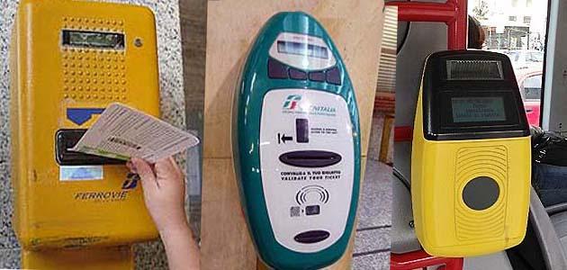 イタリアの列車のチケット刻印機