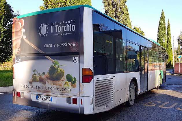 バスでティヴォリのヴィッラ・アドリアーナへアクセス